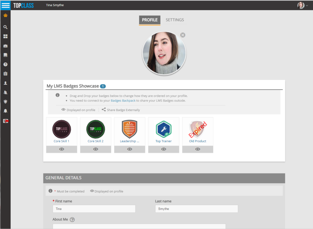 Digital Badges on the Learner Profile in TopClass LMS