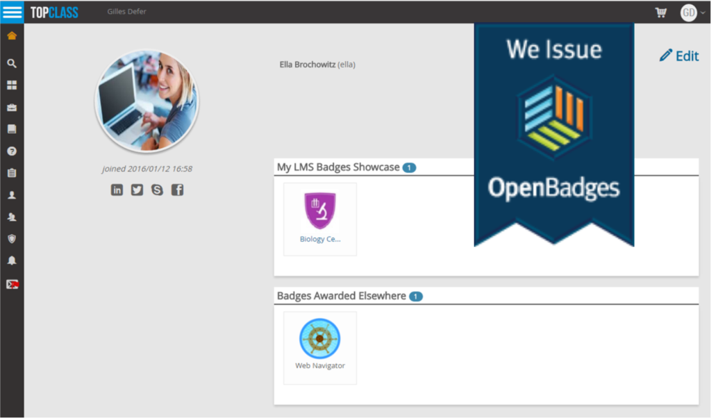 TopClass LMS Student Profile with OpenBadges