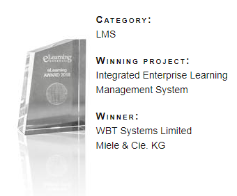 eLearning AWARD 2018 eLearning Journal LMS WBTSystems Miele