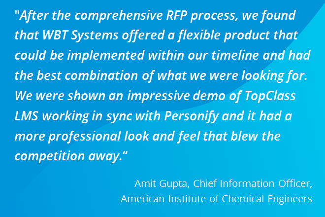 Quote from AIChE describing TopClass LMS and Personify integration